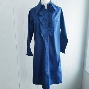 1970s Never Needs Ironing Navy Blue Dress